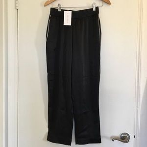 Asceno black silk high waisted pajama pant